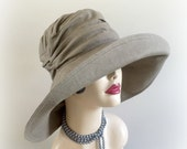 Big Brim Linen Cloche Wide Brim Hats Summer Hats Beach Hats Linen Hat with Big Brim Hats for the Races Glamour Hats Handmade in the USA