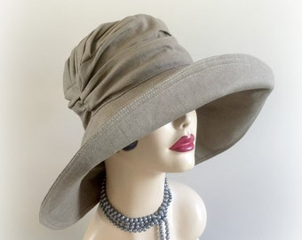 Big Brim Sun Hat - Derby Hats - Hats For The Races -  Wide Brim Derby Hat - Linen Summer Hat - Hats For Big Heads - Hats For Small Heads