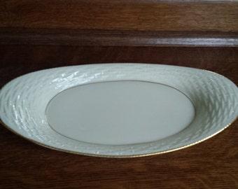 """Vintage LENOX """"Basket Weave"""" 24k Gold Gilt Trim Ivory Porcelain Large Oval Bread Basket Server Celery Vegetable Tray Plate Made in USA"""