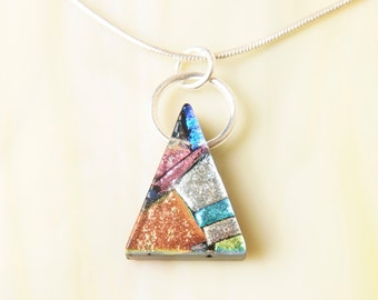 Dichroic Fused Glass Bead and Silver Pendant Necklace
