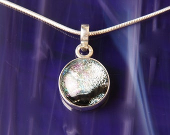 Dichroic Fused Glass and Sterling Silver .925 Pendant Necklace