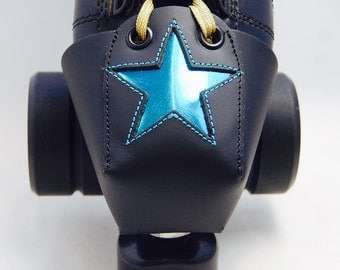 Leather Toe Guards with Metallic Blue Stars