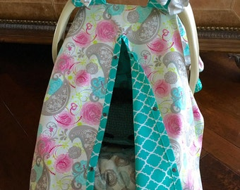MOD Baby Carseat Cover - Gray Pink and Teal Bird with Teal Quatrafoil -  Bows INCL  - All Cotton - Baby Girl
