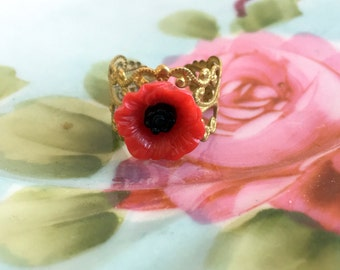 Vintage Brass filigree adjustable ring With REd Poppy Flower