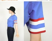 Vintage 70s Baseball Shirt / Vintage T -shirt / Fitted Ringer Tee / 1970s Oldschool V Neck / Striped / Baby Blue / Long Tunic / Extra Small