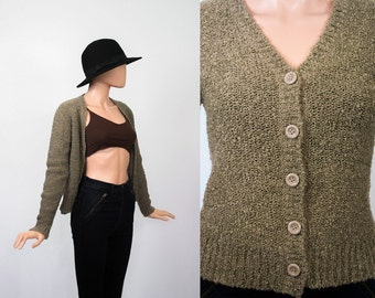 Vintage Nubby Knit Cardigan / Taupe Cardi Sweater Jacket / 70s Boho / 1970s Jumper / Poodle Texture / Small
