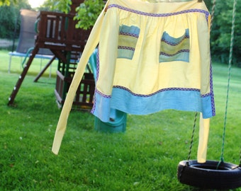 Vintage Hand Made Apron, Yellow Blue with Purple Bias Trim, Half Apron with 2 Pockets