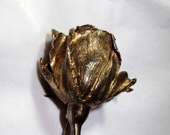 Flora Danica 925S Sterling Silver Rose Bud Brooch Denmark 18k Gold Plated