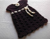 Newborn Going Home Heirloom Crochet Dress - Plum with Cream Flower and Trim - ready to ship