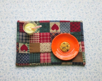 18 inch doll red country hearts set of place mats