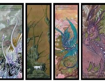 Set of 4 bookmarks - fantasy scifi unicorn alien dragon watercolor art
