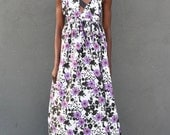 Sample SALE:  Floral Maxi Gown w/ leather accents ( Sample Size Small 2/4)
