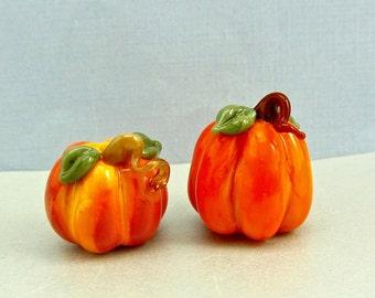 Pumpkin Bead Duo #4- Handmade Lampwork Glass Beads - SRA