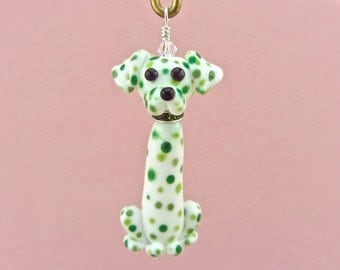 Dalmatian Ornament - Pendant - Handmade Lampwork Creation SRA