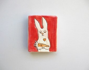 Rabbit Art, Mini Wall Art, Red, Pink, and Orange Wall Tile with Bunny and Carrot, Home Decor, Animal Art Pottery