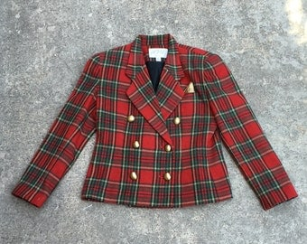 1980s Plaid Jacket by Lord and Taylor - Red Tartan Plaid Cropped Jacket Coat - Fall Coat - Winter Coat - Trending Plaid - 36 Bust