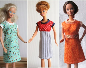 Barbie  3 Dresses Handmade in Aqua, Orange and Red White & Blue