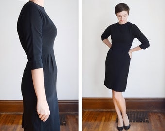 50s/60s Black Wool Fitted Dress - S