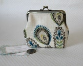Coin Purse - Change Purse -  Cream Blue Coin Purse- Cream Flower Change Purse - Kiss Lock Coin Purse