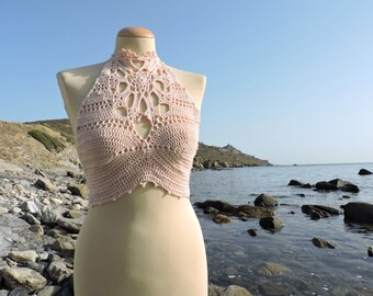 vintage doily inspired high neck crochet belly shirt