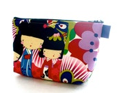 Kaori Kokeshi Large Cosmetic Bag Zipper Pouch Makeup Bag Japanese Dolls Alexander Henry Fabric Bright Pink Purple Lime Floral