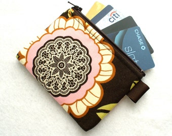 Fabric Business Card Case Coin Purse Amy Butler Fabric Zippered Credit Card Case Womens Card Holder Wallet Lacework Black Olive Pink