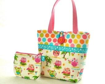 Cute Little Girls Purse Hula Owls Polka Dot Mini Tote Bag and Coin Purse Set Hot Pink Lime Turquoise Blue Hawaiian OwlsHandmade MTO