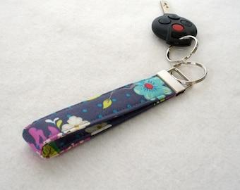 Gigi Blooms Wristlet Key Fob  Fabric Key Fob Keyring Adorn It Floral Hello Birdie Gray Orchid Purple with Blue Polka Dots