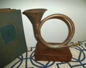 Vintage Brass French Horn on Wooden Pedestal ~ Statue ~ Book end ~ Hunting Man cave ~ Verdigris Patina