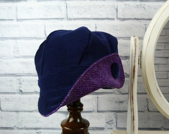 Womens Newsboy cap - Navy Velvet and Purple Harris Tweed - womens hat, womens cap