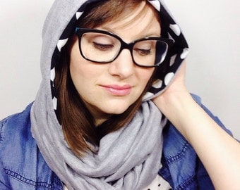 Black and White Graphic Scarf // Hooded Infinity Scarf for Spring