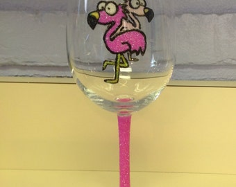 Pink Flamingos Wine Glass