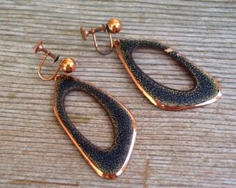 Modernist Copper Earrings, Huge Vintage Copper Black Enamel Screwback Dangle Earrings, Mid Century Modern, Vintage Copper Jewelry