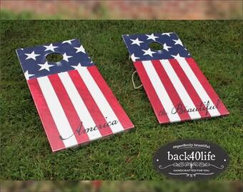 "America the Beautiful (CH-001K) - Cornhole Set 24""x48"" - Custom painted"