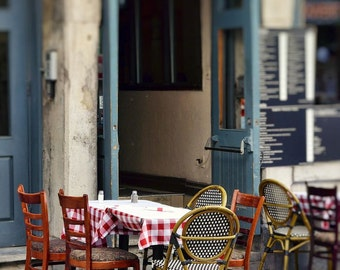 "French cafe Montreal restaurant vintage street photography slate blue red  table chairs - ""Le café""  8 x 10"
