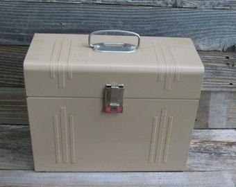 Vintage Metal Tan File Box