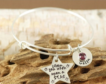ON SALE When you wish upon a star Bracelet, Wish Upon A Star Jewelry, Wish Upon a Star Bangle Bracelet,