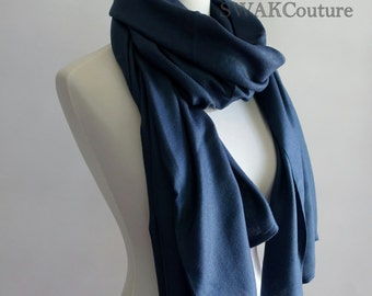 Wedding Pashmina Bridal Scarf Wrap Navy Blue Stole Shawl Bridesmaid Gift Idea Groomsmen Tuxedo Scarf Bridal Accessories or CHOOSE Color