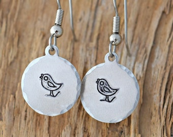 Metal stamped Jewelry - Hand Stamped Jewelry - Metal Stamped - Bird Earrings
