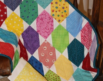 Doll Quilt With Matching Pillow and Pillowcase--Multi-Colored Stretched Star