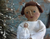 Aged Cloth Girl Holding Doll Christmas  Ornament Named All I Want MADE TO ORDER