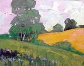 Impressionist Painting California Plein Air Landscape Summer Eucalyptus Hills Lynne French 11x14