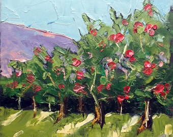 California Impressionist Plein Air APPLE ORCHARD Landscape o/c Painting Art Lynne French 10x10