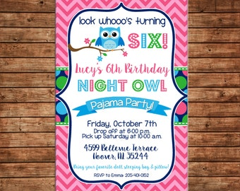 Night Owl Sleepover Slumber Party Chevron Polka Dots Girl Birthday Party Invitation - DIGITAL FILE