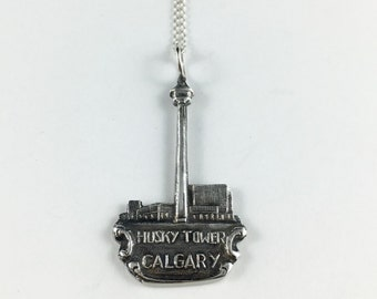 Calgary Necklace, Calgary Gift, Calgary Alberta, Canada Necklace, Canada Souvenir, Canada Charm, Spoon Necklace, Spoon Jewelry