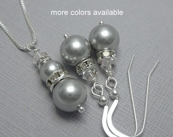 CUSTOM COLOR Swarovski Light Grey Pearl and Clear Crystal Bridesmaid Necklace and Earring Set, Bridesmaid Gift, Wedding Jewelry Set