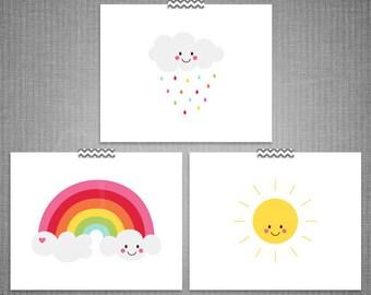 Cheeky Cloud Rainbow Sun 3pc DIY Printable Digital Wall Art 4x6 5x7 8x10 11x14
