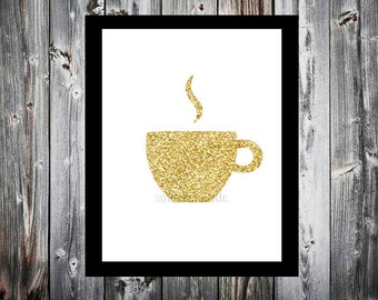 Coffee mug Tea cup gold silver glitter any color or custom name coffee Digital download printable.