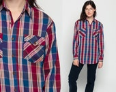 Flannel Shirt 80s Plaid Shirt Red Blue Oversized Grunge Vintage 90s Button Down up Lumberjack Long Sleeve Women Men Small Medium