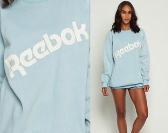 Reebok Sweatshirt 80s Sports Shirt Raglan Sleeve Baby Blue 1980s Vintage Slouchy Pastel Plain Pullover Retro Large